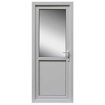 White PVCu Half Glazed Back Door & Frame Lh, (H)2055mm (W)840mm