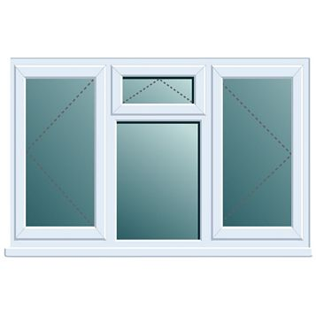 White PVCu Double Side Hung with Top Vent over Fixed Lite Window (H)1120mm (W)1760mm