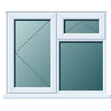 PVCu LH Side Hung with Top Vent over Fixed Lite Window 970 x 1190 mm