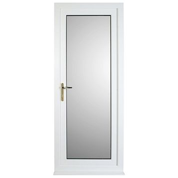 White PVCu Fully Glazed Back Door & Frame Rh, (H)2055mm (W)840mm