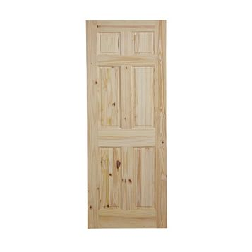 6 Panel Knotty Pine Internal Door, (H)1981mm (W)610mm