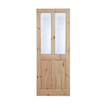 4 Panel Knotty Pine Glazed Internal Door, (H)1981mm (W)762mm