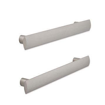 Cooke & Lewis Brushed Nickel Effect D-Shaped Cabinet Handle, Pack of 2