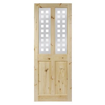4 Panel Knotty Pine Glazed Internal Door, (H)1981mm (W)686mm