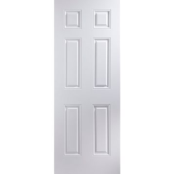 6 Panel Primed Internal Door, (H)1981mm (W)838mm