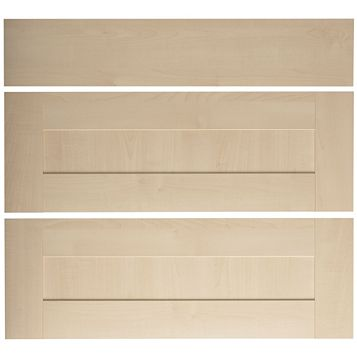 IT Kitchens Westleigh Contemporary Maple Effect Shaker Pan Drawer Front (W)800mm, Set of 3