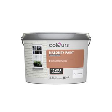 Colours Pure Brilliant White Matt Masonry Paint 2500ml