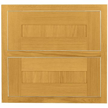 Cooke & Lewis Carisbrooke Oak Framed Tower Drawer Front (W)600mm, Set of 2
