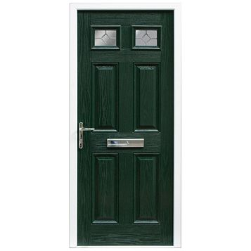 Westminster Green GRP 4 Panel Partially Glazed RH Front Door & Frame 2055 x 920 mm