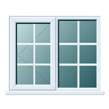 PVCu Georgian RH Side Hung with Fixed Lite R/H Window 970 x 1190 mm