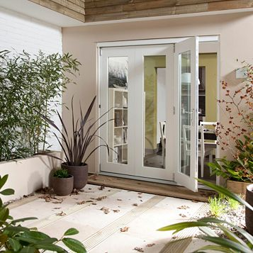 Pre-Finished White Glazed Folding Sliding Patio Doors, (H)2105mm (W)2105mm