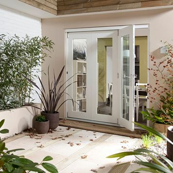 Pre-Finished White Glazed Folding Sliding Patio Doors, (H)2105mm (W)2405mm