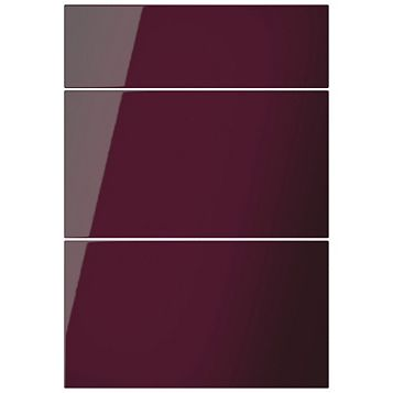 Cooke & Lewis Raffello High Gloss Aubergine Slab Drawer Front (W)500mm, Set of 3