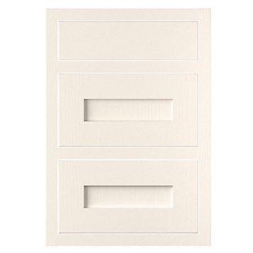 Cooke & Lewis Carisbrooke Ivory Framed Drawer Front (W)500mm, Set of 3