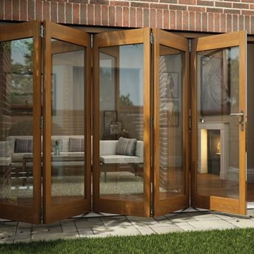 Oak Veneer Glazed Folding Sliding Patio Doors, (H)2105mm (W)3605mm