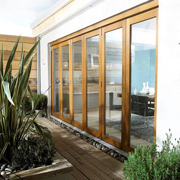 Oak Veneer Glazed Folding Sliding Patio Doors, (H)2105mm (W)4205mm