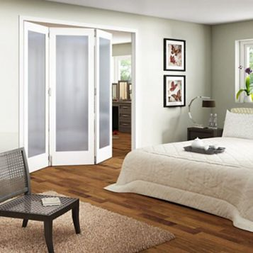 Shaker 1 Panel 1 Lite White Primed Fully Glazed Internal Room Divider, (H)1981mm (W)1830mm