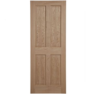4 Panel Oak Veneer Internal Door, (H)1981mm (W)762mm