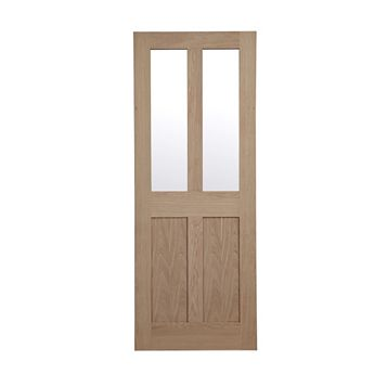 Melbury 4 Panel Oak Veneer Glazed Internal Door, (H)1981mm (W)838mm
