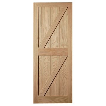 Framed, Ledged & Braced Oak Veneer External Door, (H)2032mm (W)813mm