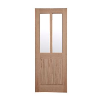 Cottage Panelled Oak Veneer Glazed Internal Door, (H)1981mm (W)762mm