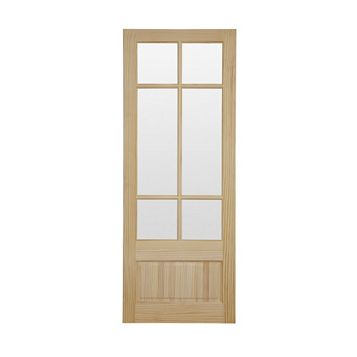 2 Panel Clear Pine Glazed Internal Door, (H)1981mm (W)838mm