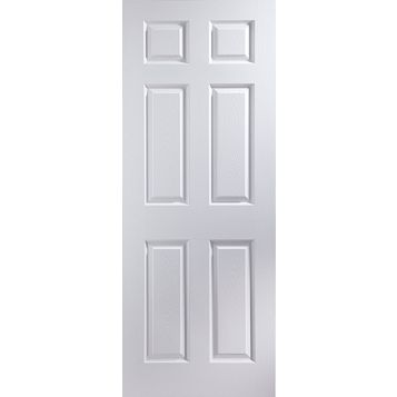 6 Panel Primed Internal Door, (H)2040mm (W)626mm
