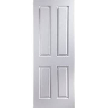 4 Panel Primed Woodgrain Internal Unglazed Door, (H)2040mm (W)726mm