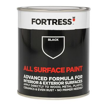 Fortress Interior & Exterior Black Satin Multi-Purpose Paint 250ml