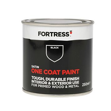 Fortress One Coat Interior & Exterior Black Satin Paint 250ml