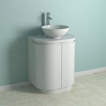 Cooke & Lewis High Gloss White Curved Vanity Unit