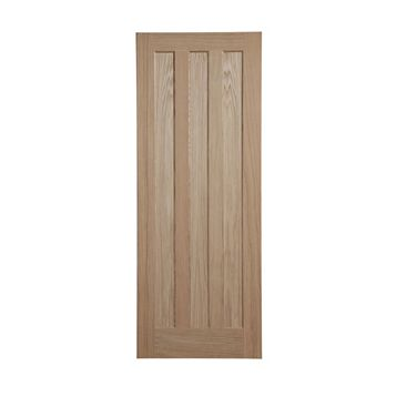 Vertical 3 Panel Oak Veneer Internal Door, (H)1981mm (W)610mm