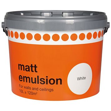 B&Q White Matt Emulsion Paint 10L
