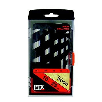 PTX 10-25 mm Wood Drill Bit Set, 5 Piece