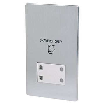 Lap Flat Plate Chrome Effect Screwless 115/230V Dual Voltage Shaver Socket