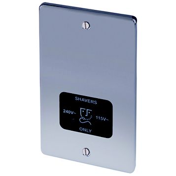 Lap Raised Rounded Nickel Effect 115/230V Dual Voltage Shaver Socket