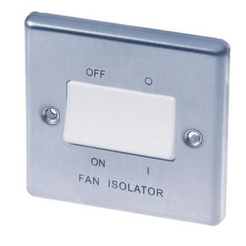 Lap 1-Gang 10AX White Stainless Steel Fan Isolator Switch