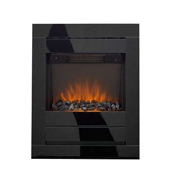 Cristal Black Glass Wall Mounted Electric Fire