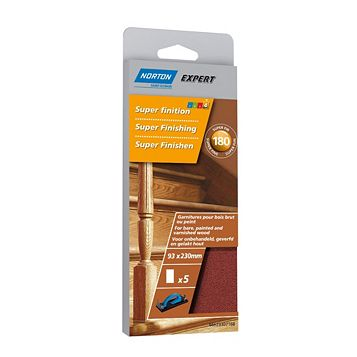 Norton 180 Extra Fine Sanding Block Refill, Pack of 5