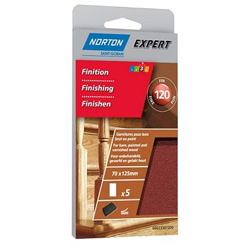 Norton 120 Fine Sanding Block Refill, Pack of 5