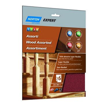 Norton Mixed Grit Assorted Sandpaper Sheet, Pack of 6