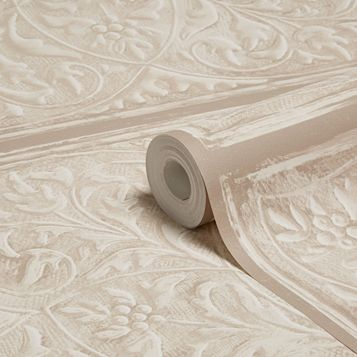 Ornate Panels Taupe Matt Vinyl Wallpaper