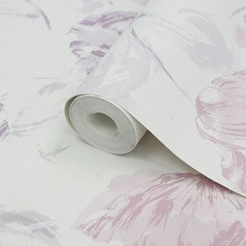 Water Colour Tulips Pink & Purple Floral Wallpaper