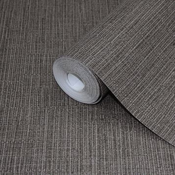 Plain Black & Taupe Fabric Tweed Effect Wallpaper