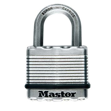 Master Lock Excell Laminated Steel Body with Boron Carbide Shackle 4-Pin Tumbler Cylinder with Dual Ball Bearings Padlock (W)45mm Of 3