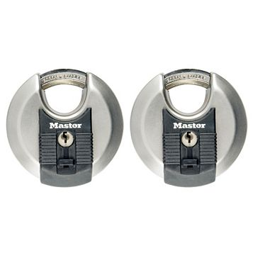 Master Lock Weather Tough Stainless Steel Keyed Discus Lock (W)70mm, Pack of 2