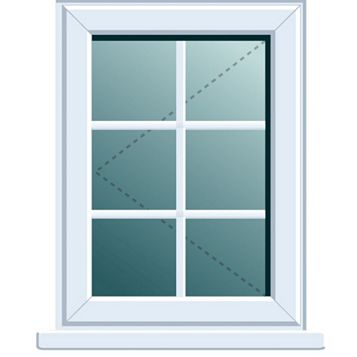 PVCu Georgian LH Side Hung L/H Window 820 x 620 mm
