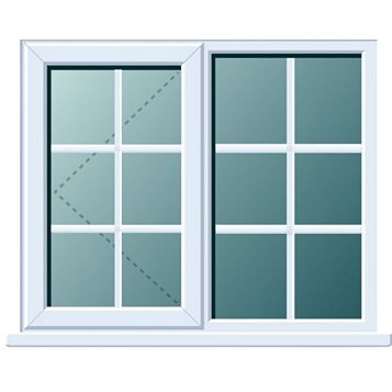 PVCu Georgian LH Side Hung with Fixed Lite L/H Window 1120 x 1190 mm