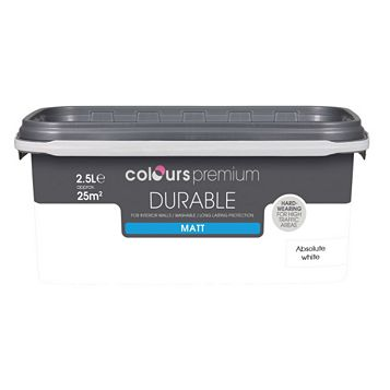 Colours Durable Absolute White Matt Emulsion Paint 2.5L