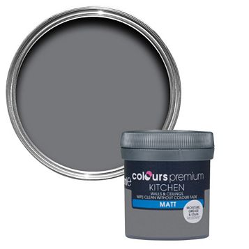 Colours Kitchen Grey Slate Matt Emulsion Paint 0.05L Tester Pot